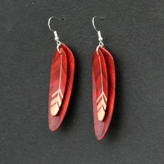 Handcarved Maple and Redheart Wood double leaf/feather earrings $35 from Etsy