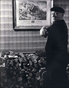 Blaise Cendrars, Gravure and pile of wood, 1940 by Robert Doisneau