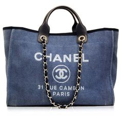 """WANT: Chanel Blue Cabas Ete Canvas Tote. An """"every day"""" Chanel :P"""