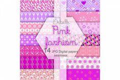 Fashion Pink digital paper seamless pattern from DesignBundles.net