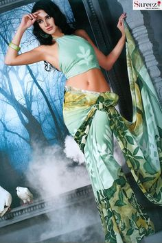 White & Moss Green Chiffon Casual & Party Saree