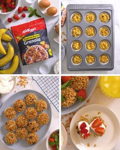 Muffin Tin Recipes, Baking Recipes, Muffin Tin Eggs, Easy Brunch Recipes, Dessert Recipes, Granola Muffin Recipe, Dinner Party Desserts, South African Recipes, Tiny Food