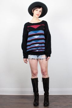 Vintage 70s Sweater Black Blue Red Boyfriend Sweater Wool Jumper Abstract Knit Striped Pullover Homemade Boho 1970s Sweater L XL Extra Large by ShopTwitchVintage #vintage #etsy #70s #1970s #sweater #jumper #pullover #wool #knit #boyfriendsweater