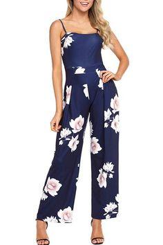 Chic Spaghetti Strap Navy Blue Floral Print Wide Leg Jumpsuit MB64382-5 –  ChicLike.com 93047d304