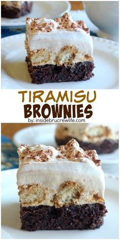 Brownies topped with coffee cheesecake, and coffee dipped cookies are an amazing dessert to serve any time! Brownies topped with coffee cheesecake, and coffee dipped cookies are an amazing dessert to serve any time! Chocolate Desserts, Fun Desserts, Delicious Desserts, Dessert Recipes, Yummy Food, Chocolate Coffee, Gourmet Cupcake Recipes, Chocolate Tiramisu, Italian Desserts