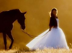 lady and her horse. Kylee wants to do this for her wedding pics
