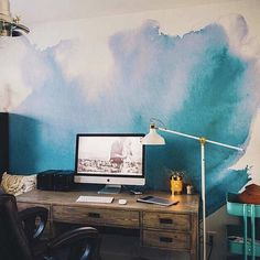 Beautiful watercolor mural art!  SIZE: 150 x 108  This mural is printed on our traditional paste and glue wallpaper. Its high quality matte finish