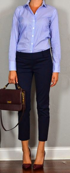A good way to start the workweek: a super-simple outfit that's office-appropriate but still has personality, between the cropped pants and the slightly less expected maroon heels.