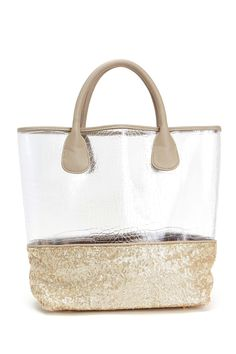 Silver metallic leather tote with gold leather and sequin accents by Witchcraft