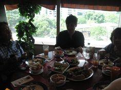 Enjoying the meal at the top floor in Kuala Lumpur.