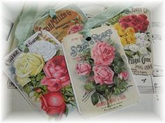 Gift tags VINTAGE COTTAGE GARDEN ROSES ~ see what you can do with all vintage images