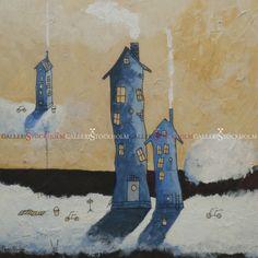 Per Nylén - Oljemålningar Stockholm - Hus på moln 24