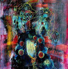 """SOLD: Her Head Can't Hold Us by Penelope Przekop   $300   12""""w 12""""h   Original Art   https://www.vangoart.co/penelopeprzekop/her-head-can-t-hold-us @VangoArt"""