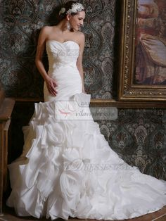 $229.59 Astonishing Mermaid Taffeta Sweetheart Court Train #Wedding #Dresses #online