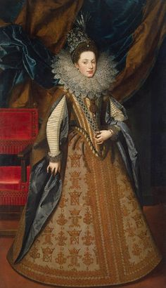 """Frans Pourbus the Younger, """"Portrait of Margaret of Savoy, Duchess of Mantua""""  1608  Oil on canvas, 207 x 116 cm  The Hermitage, St. Petersburg"""
