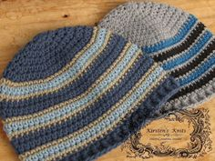 Here are 2 striped men's beanies! These work up quickly, and are great for donating to hospitals, shelters, and other organizations that help the needy.