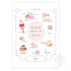 Kitchen art print, French, Cakes, Giclee, Illustration, Macaron, Cupcake,Tea Shop, Patisserie, Cafe, Pink, Ice Cream Cone