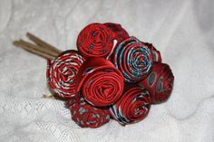 Upcycled Red Rosebud Necktie Bouquet by LouellaRoseshop on Etsy, $175.00