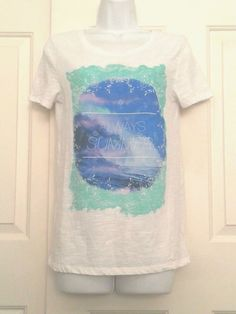 """American Eagle Outfitters Med White Beach Design """"Always Summer"""" T Shirt…"""