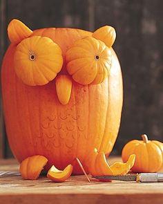 Owl Pumpkin. Fall Decor / Carving Idea from Martha Stewart by AlbinaAlb