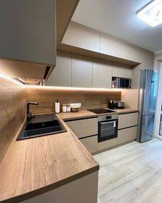 Simple Kitchen Design, Kitchen Room Design, Home Room Design, Kitchen Cabinet Design, Home Decor Kitchen, Interior Design Kitchen, Home Kitchens, Modern Kitchen Interiors, Cuisines Design