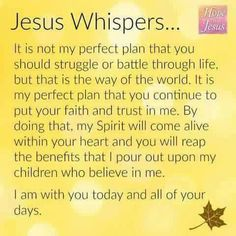 Jesus Whispers... It i not my perfect plan that you should struggle or battle through life, but that is the way of the world....
