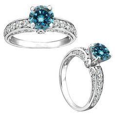 1.25 Carat Blue Round Diamond Solitaire Halo Fancy Wedding Ring 14K White Gold - EXCLUSIVE DEAL! BUY NOW ONLY $1068.37