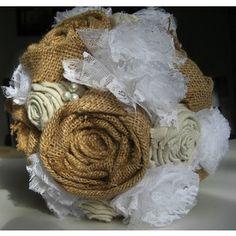 Burlap, Linen and Lace Fabric Flower Bouquet, Wedding bouquet
