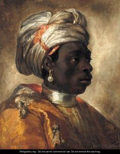 a Moor (Blackamoore), Europe. This looks to me as if it might be the same artist who painted the portrait of the Mustapha next to it, Theodore Gericault.