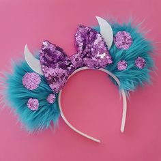 Handmade Sulley Mouse Ears. The back of the ears are blue fur. Headbands fit from toddler to adult. Available in youth size upon custom request.