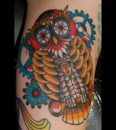 robot owl tattoo