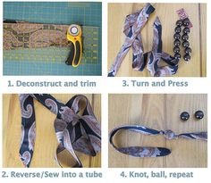 make a chic necklace or bracelet from old tie.