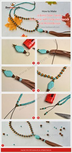 How to Make a Boho Style Tassel Necklace with Turquoise Beads and Wood Beads Leather Tassel, Leather Jewelry, Boho Jewelry, Jewelry Crafts, Beaded Jewelry, Jewelry Necklaces, Jewelry Design, Jewellery Box, Women Jewelry