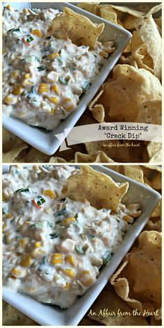 2 cans Mexicorn, drained 1 cup real mayonnaise 1 cup real sour cream Tops of 3 bunches of green onions, sliced 1 can green chilies, diced ⅓ cup of jalapenos (the jar kind), chopped 8 ounce package of Shredded Mexican Blend cheese Tortilla chips for serving