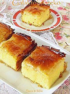 » Galaktoboureko / Placinta greceascaCulorile din Farfurie Greek Desserts, Greek Recipes, No Bake Desserts, Dessert Recipes, Romanian Desserts, Romanian Food, Romanian Recipes, Pastry Cake, Dessert Drinks