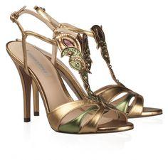 Zapatos Tacon Oro Viejo