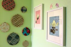 Fabric in embroidery hoops as wall decor.