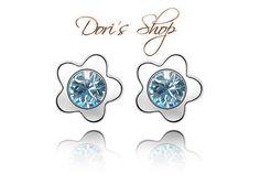 Genuine Crystals From Swarovski Plum Flowers Stud Earrings Women Girls Earrings, Blue Earrings, Crystal Earrings, Crystal Jewelry, Plum Flowers, Silver Flowers, Fashion Earrings, Fashion Jewelry, Iris Fashion