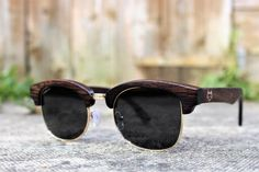 Paul Ven Fox Clubmaster wooden sunglasses. Polarized Wood