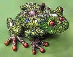 Mosaic Green Frog Figurine- I've got the turtle one!