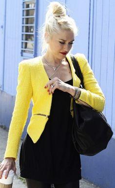 yellow moto jacket! oh Gwen, you're my fashion guru