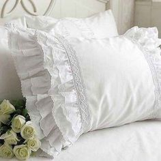 White pillow cases with lace - so fresh and clean.