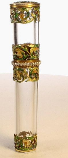 c. 1880 important, rare Rock Crystal Gold and Enamel, tiny Pearls  'Love Message case', art nouveau | JV