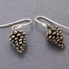 Pine Cone Earrings  Sterling Silver Earwires by insanejellyfish