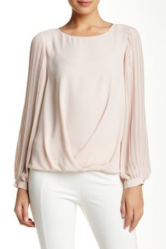 Pleated Bishop Sleeve Draped Front Blouse by Vince Camuto on @HauteLook