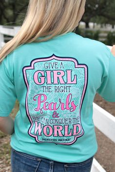Give a Girls the Right Pearls and She Can Conquer the World - Short Sleeve - Pocket Tee Color: Chalky Mint 100% pre-shrunk, Ring spun Cotton