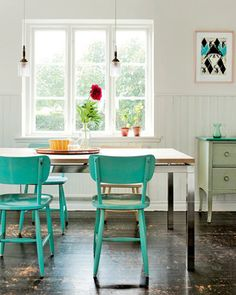 Love the blue chairs!    Marie Claire Maison, via the style files