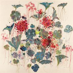 """Louise Gardiner """"Leather Spontaniums"""" (Free Machine Embroidery, Applique and Painting on Canvas.)"""