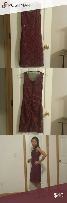 Women burgundy dress Used once on a party, very pretty perfect on a wedding party or any special celebration. It's sparkly at night too Studio Y Dresses Midi