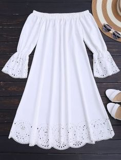 Laser Cut Midi Off The Shoulder Dress - White M - Like Tutorial and Ideas Simple Dresses, Cute Dresses, Casual Dresses, Short Dresses, Casual Outfits, Cute Outfits, Casual Clothes, African Fashion Dresses, African Dress